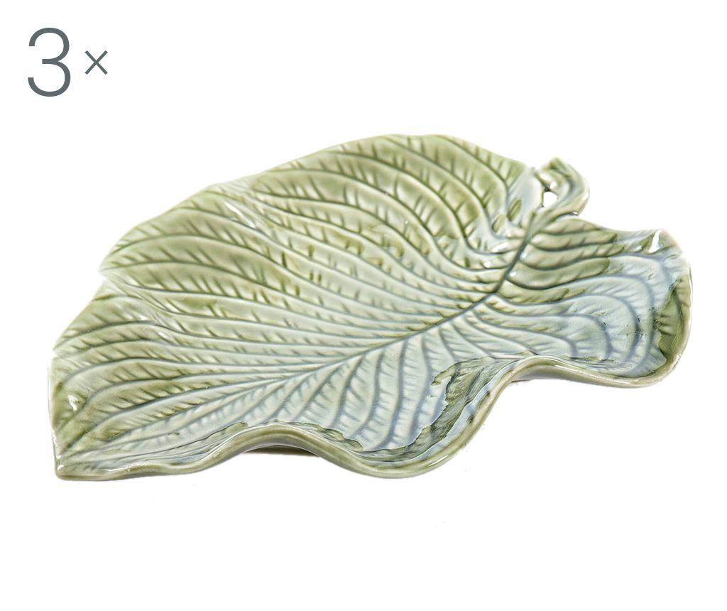 Set 3 platouri decorative Leaf Of Life - Garpe Interiores, Verde