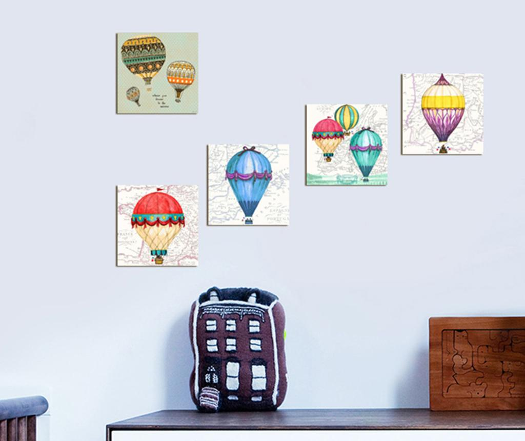 Set 5 tablouri Hot Air Balloons 15x15 cm