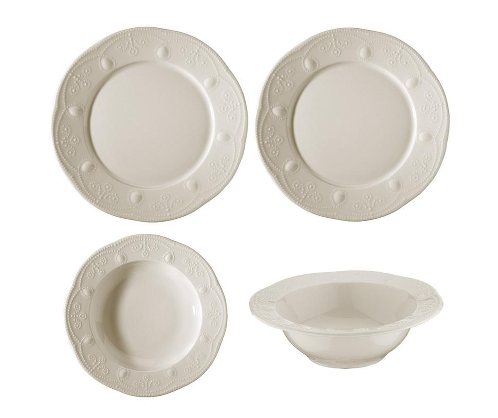 Set de masa 24 piese Rococco White - Kütahya Porselen, Alb