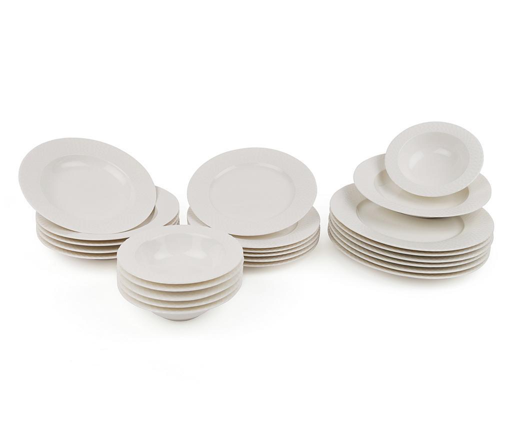 Set de masa 24 piese Pattern White - Kütahya Porselen, Alb