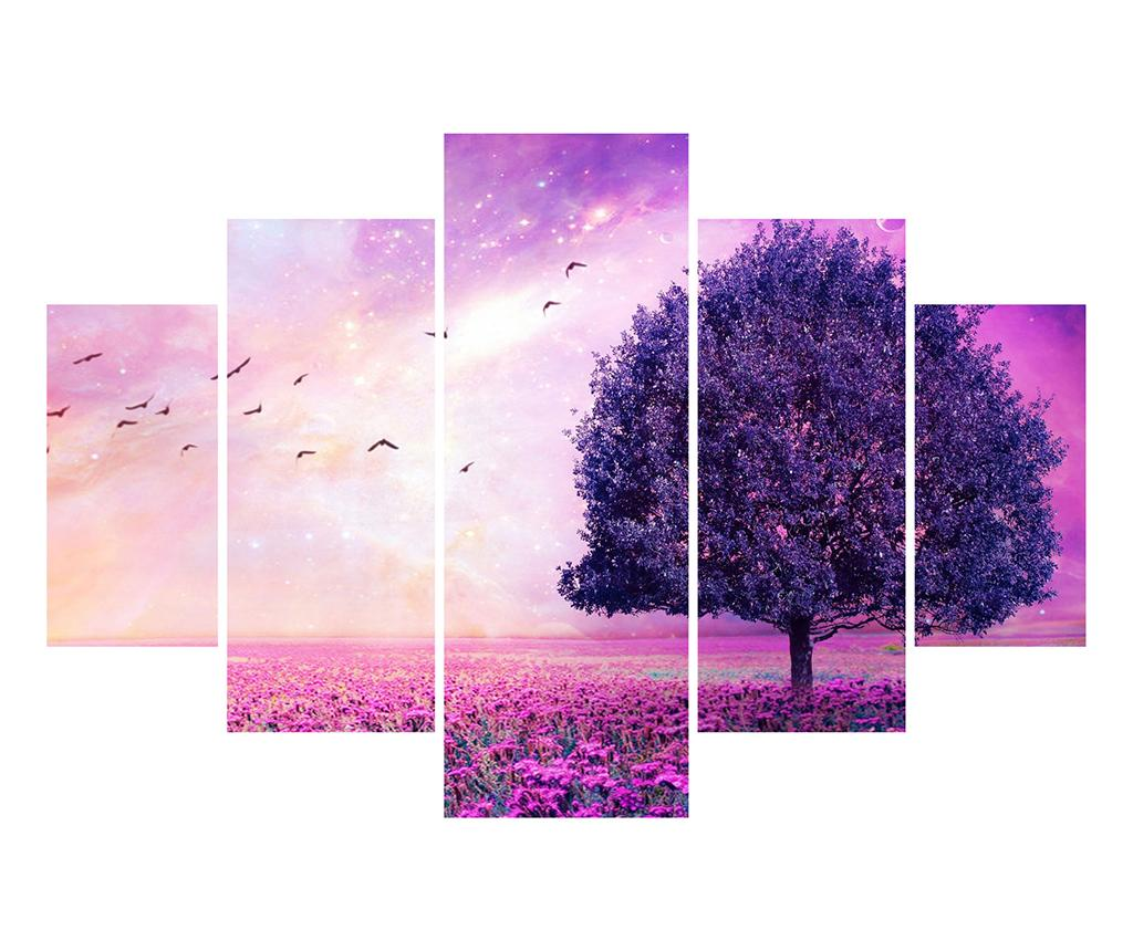 Set 5 tablouri Purple Tree - Miracle, Multicolor