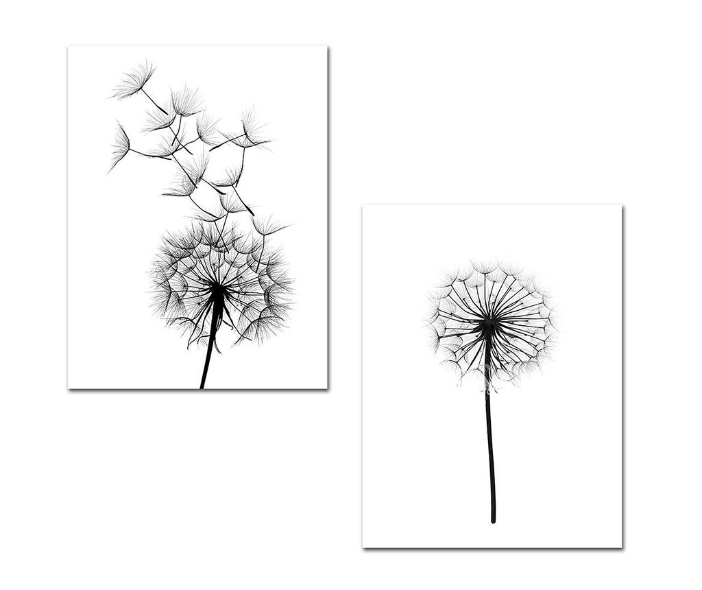 Set 2 tablouri Black Dandelions 30x40 cm - Onno