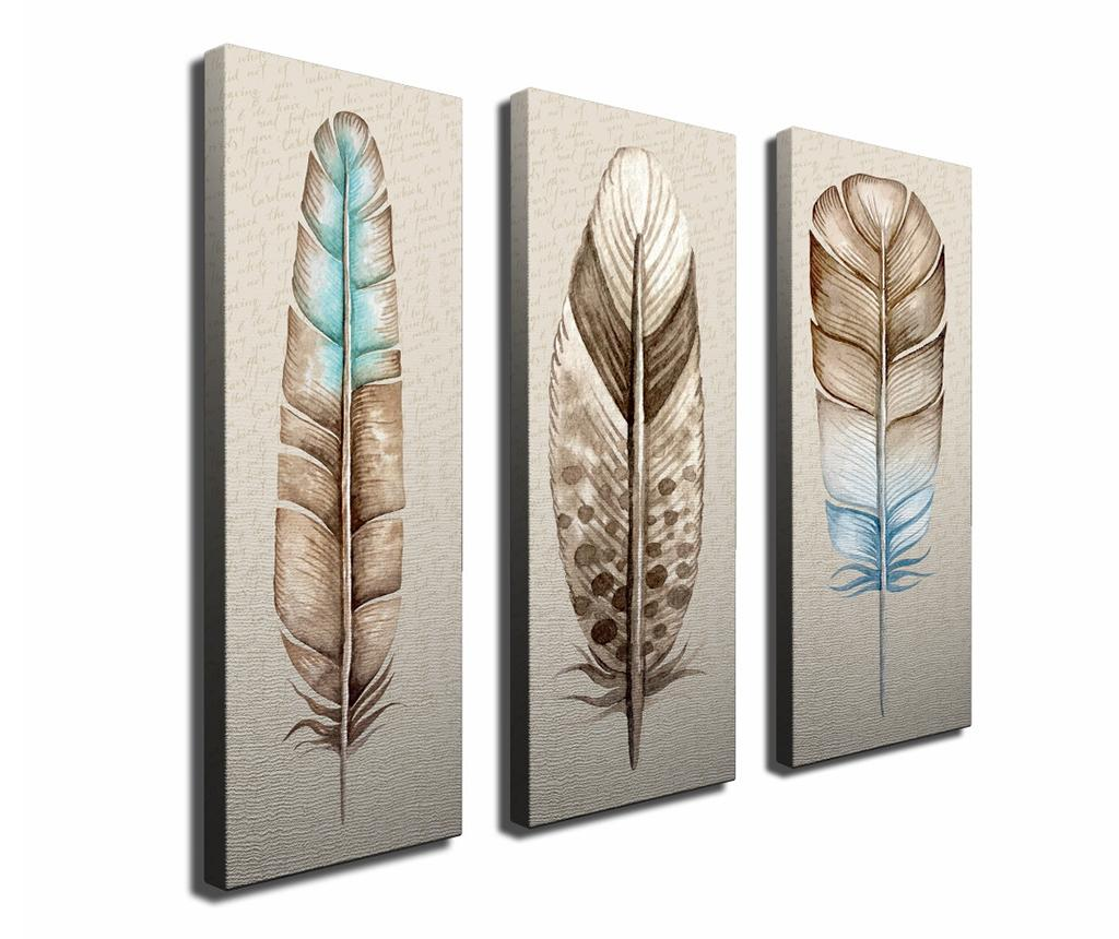 Set 3 tablouri Feather 20x70 cm - Symphony