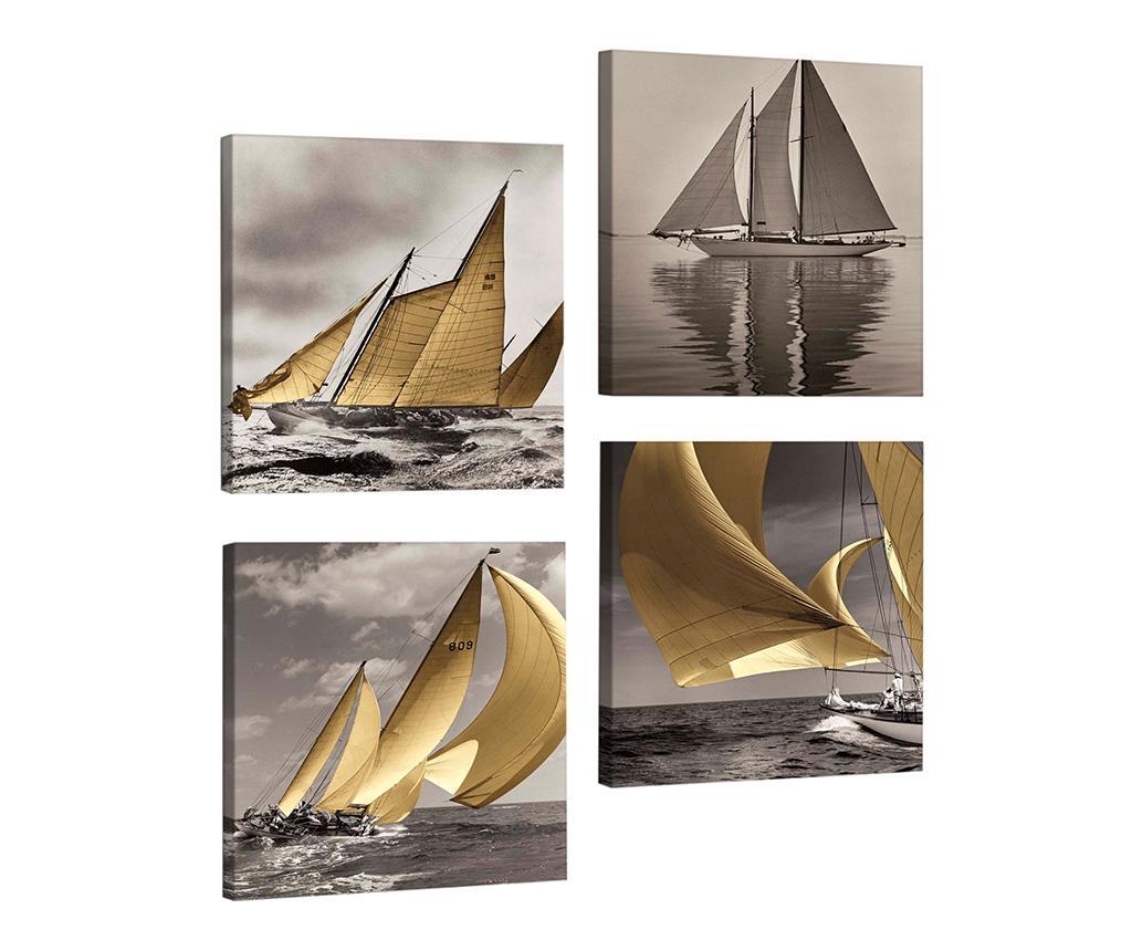 Set 4 tablouri Sailing 33x33 cm