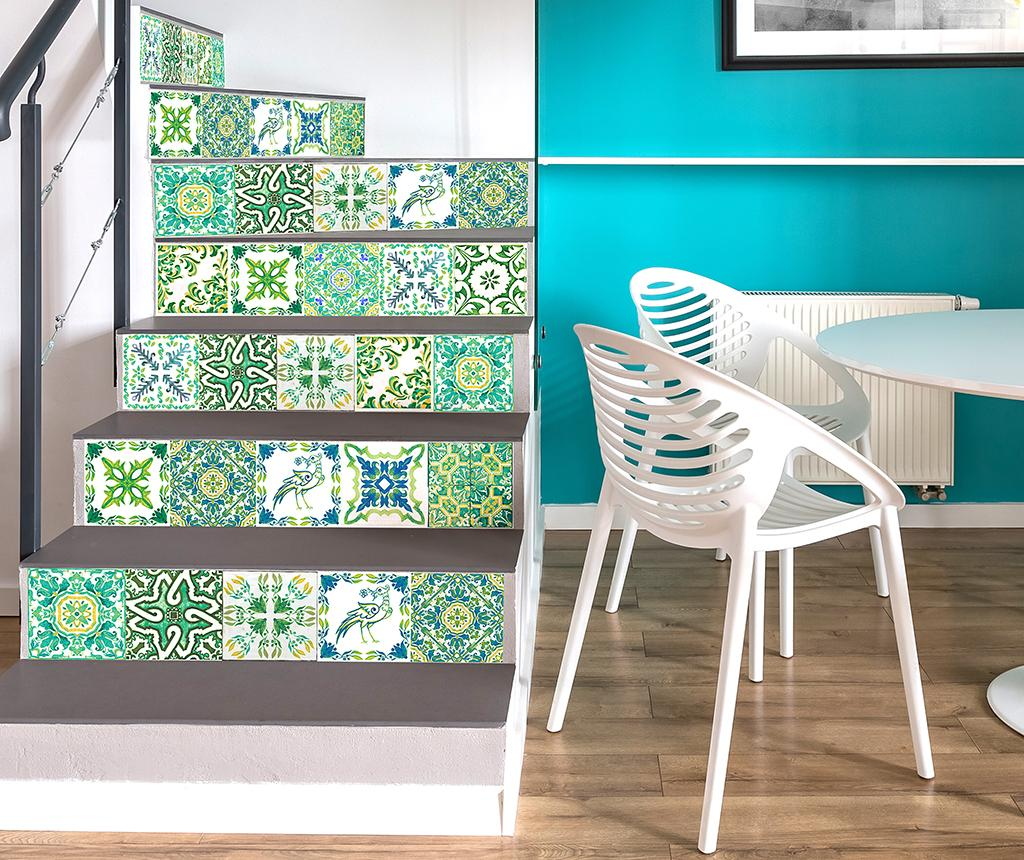 Set 24 stickere Tile Turkish Green - Wallplus, Verde