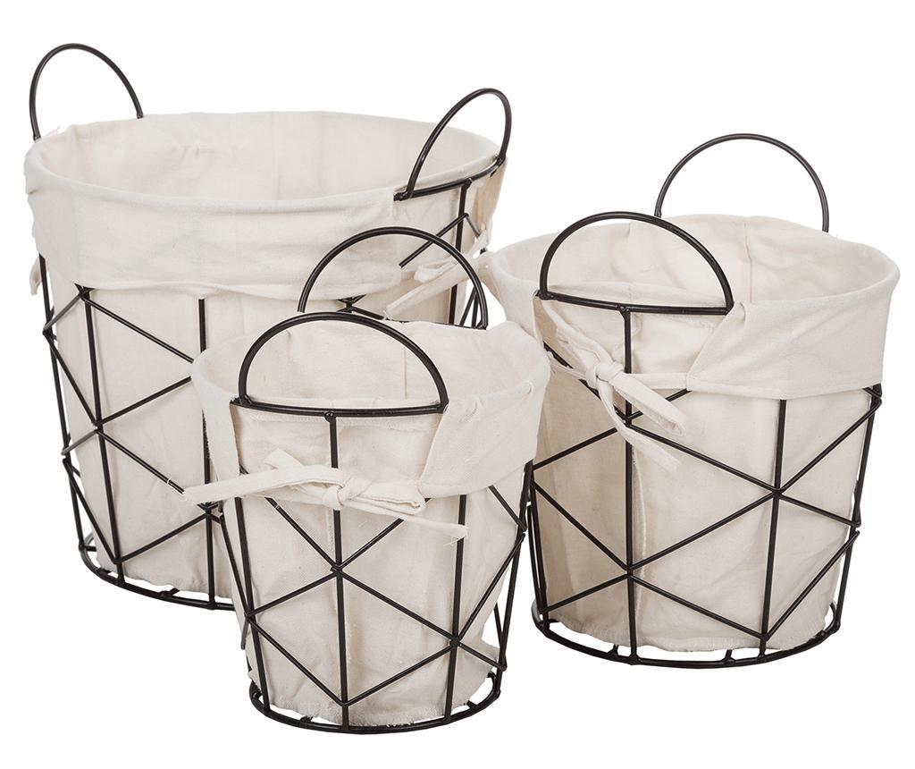 Set 3 cosuri pentru depozitare Calista - Creaciones Meng, Alb