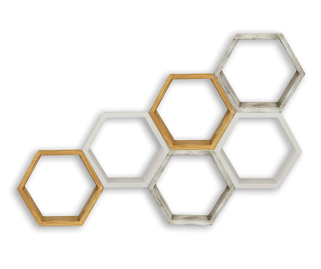 Set 6 rafturi Bee - Signal, Crem,Gri & Argintiu