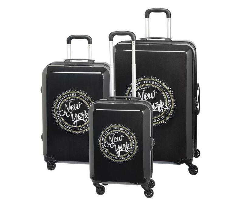 Set 3 kovčkov na kolesih New York Black