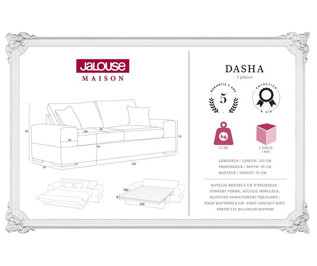 Dasha Ashen Brown Háromszemélyes kihúzható kanapé