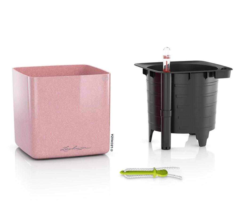 Set ghiveci cu sistem autoirigare si suport Cube Glossy Cashmere Cream S