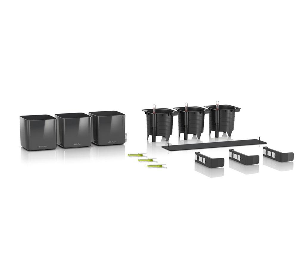 Set 3 ghivece cu sistem autoirigare si suport Wall Kit Glossy Charcoal