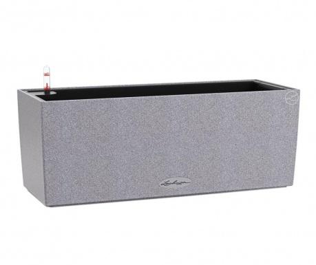 Set - cvetlično korito z avto-namakalnim sistemom in držalom Balconera Stone Gray S