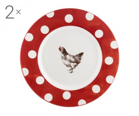 Sada 2 plytkých tanierov Dotted Chicken