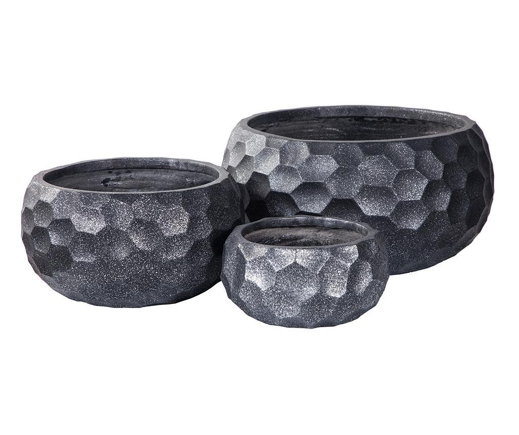 Set 3 držača za posude za cvijeće Concrete Pattern