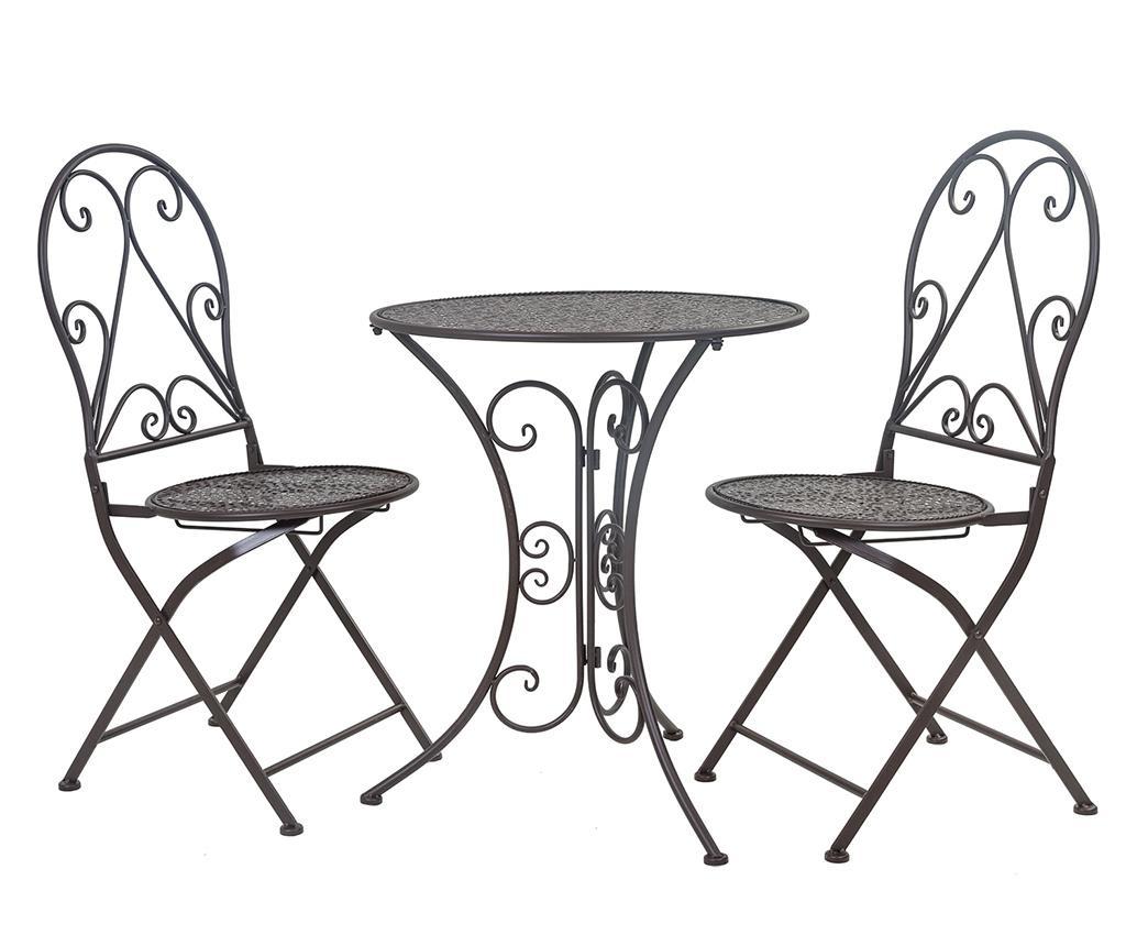 Set masa si 2 scaune pentru exterior Classic Pattern Black