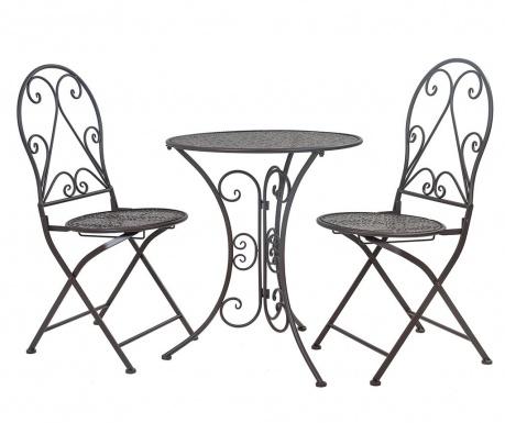 Комплект маса и 2 стола за екстериор Classic Pattern Black