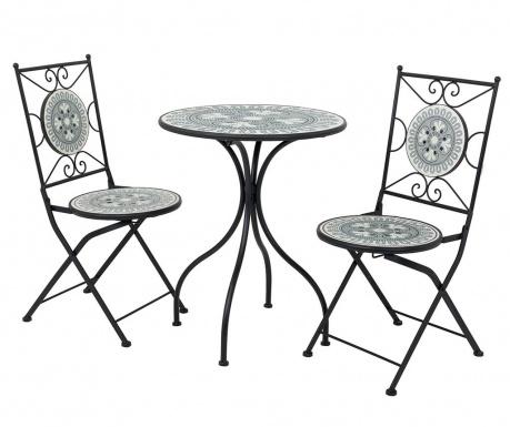 Комплект маса и 2 стола за екстериор Mosaic Flower