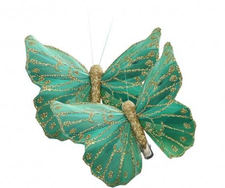 Set 2 dekoraciji s ščipalko Butterfly Green