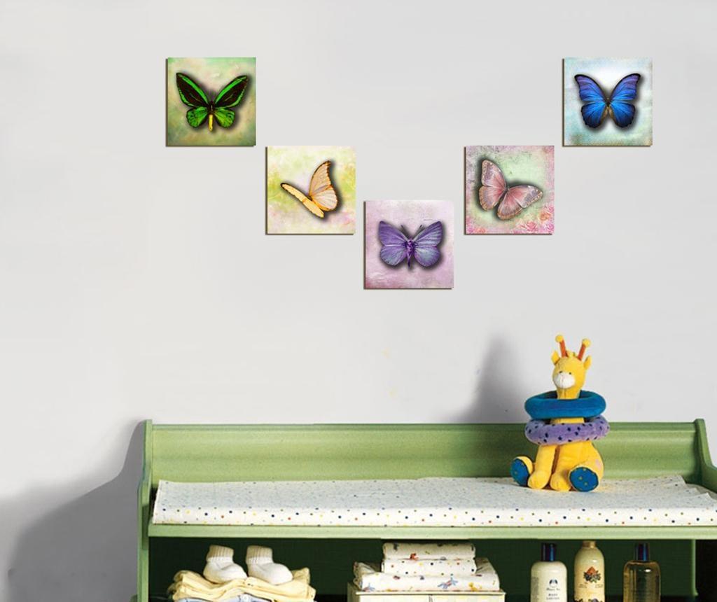 Set 5 slika Butterfly 15x15 cm