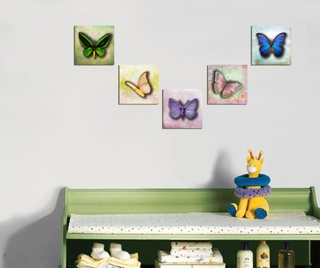 Set 5 tablouri Butterfly 15x15 cm