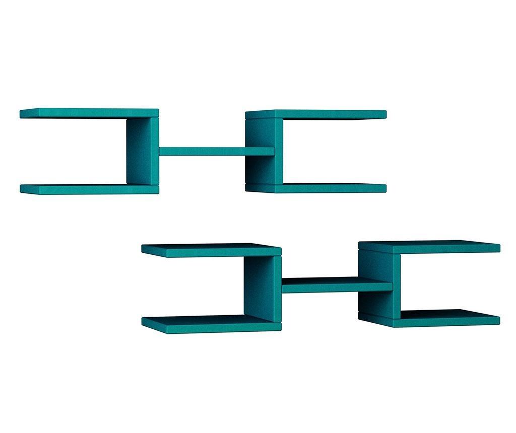 Set 2 rafturi de perete Generation Turquoise