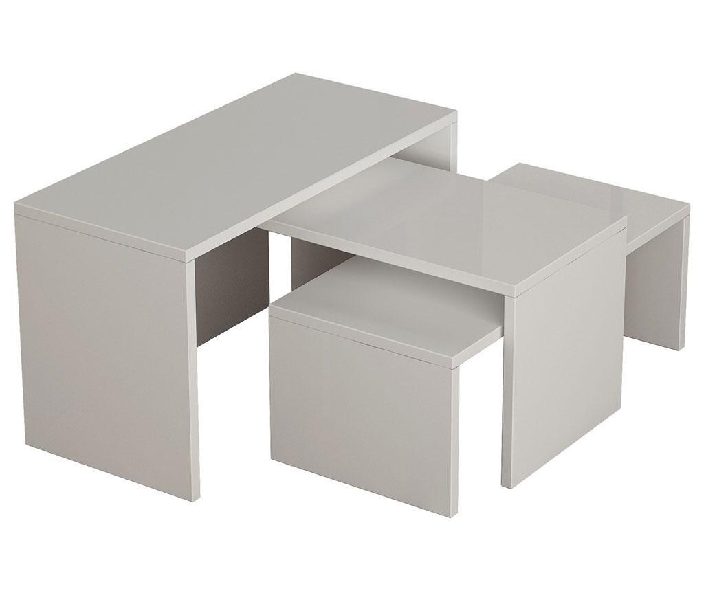 Set 3 klubskih mizic Clear Lines White