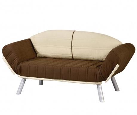 Sofa extensibila 2 locuri Assos Brown and Cream
