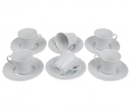 Set 6 cesti si 6 farfurioare Espresso Simple White