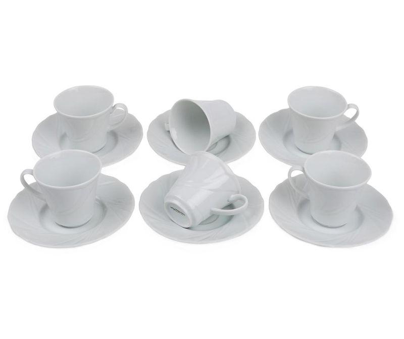 Espresso Simple White 6 db Csésze és 6 db kistányér