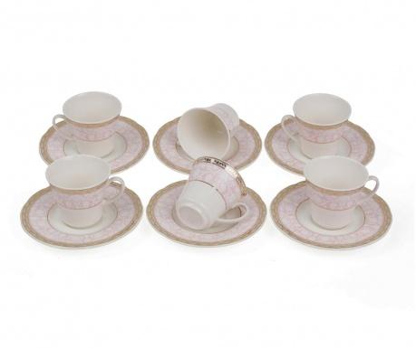 Set 6 cesti si 6 farfurioare Espresso Bloom Pink