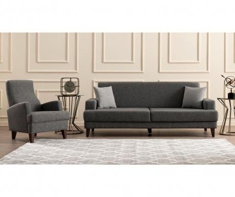 Set canapea extensibila 3 locuri si fotoliu Kana Dark Grey