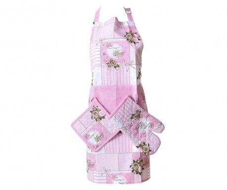 Set sort, manusa de bucatarie si suport pentru vase fierbinti Adon Pink