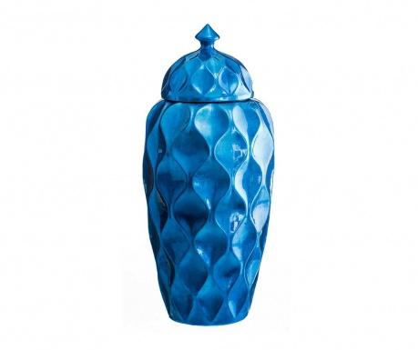 Vas decorativ cu capac Duke Tall Blue