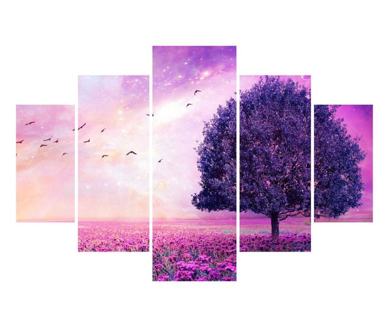 Sada 5 obrazů Purple Tree