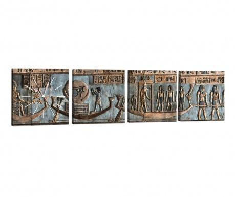Set 4 tablouri cu ceas Egypt 33x33 cm