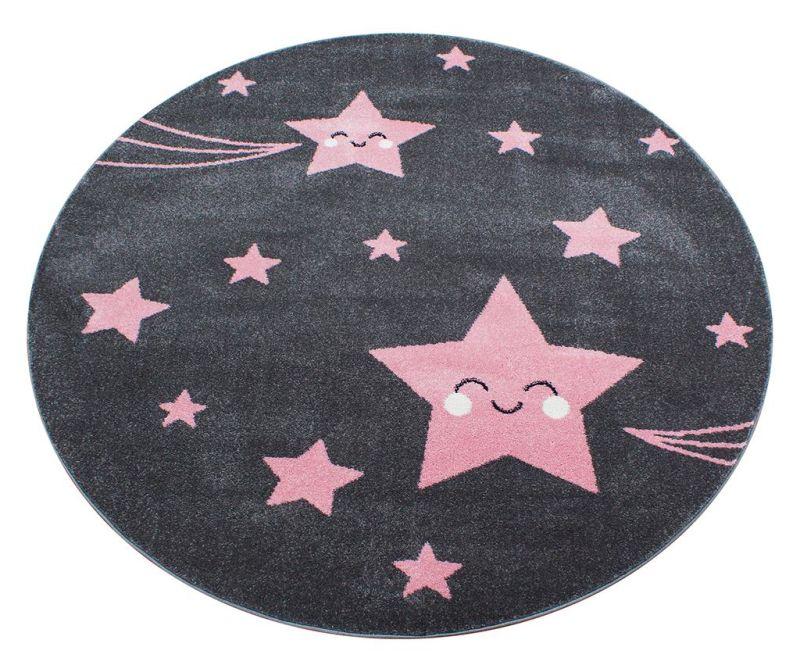 Koberec Night Stars Round Pink 120 cm