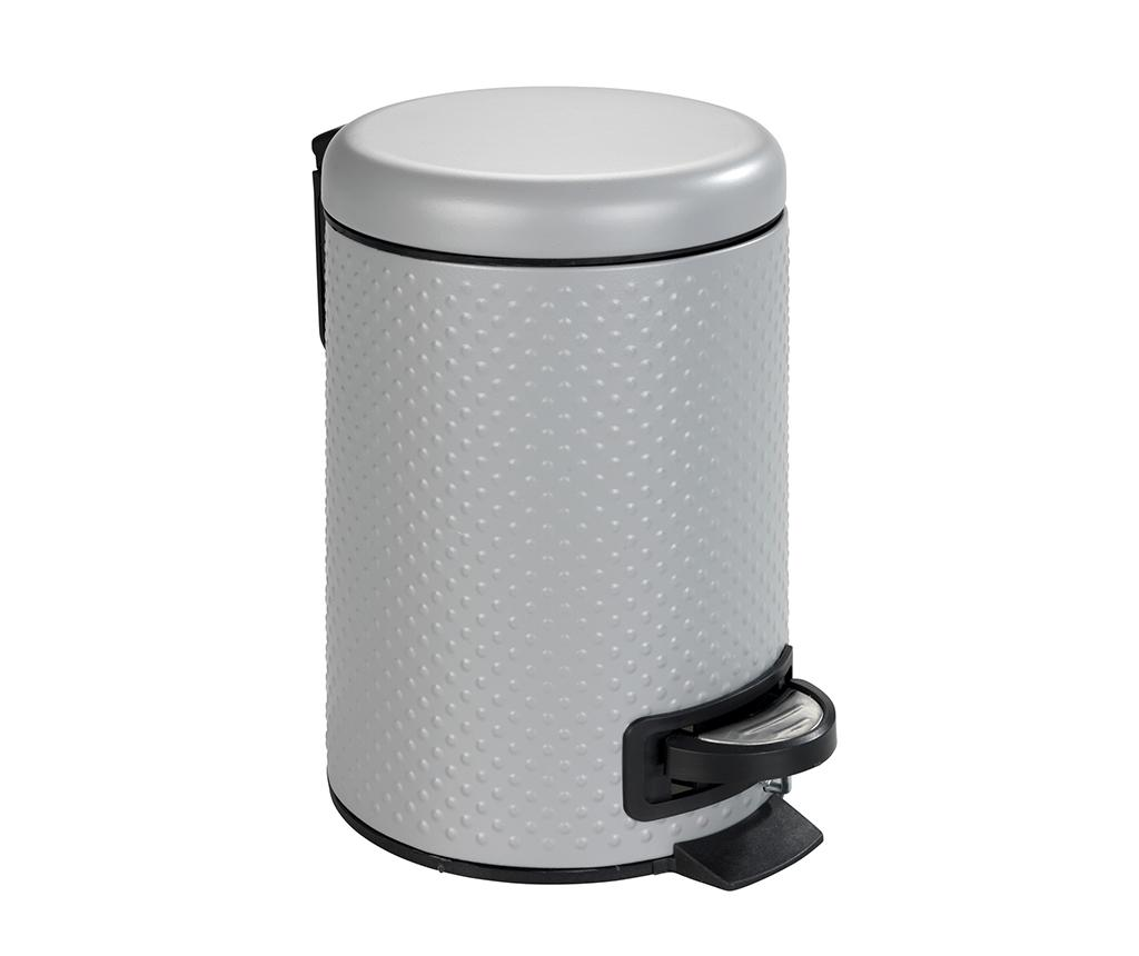 Cos de gunoi cu capac si pedala Punto Grey 3 L - Wenko, Gri & Argintiu