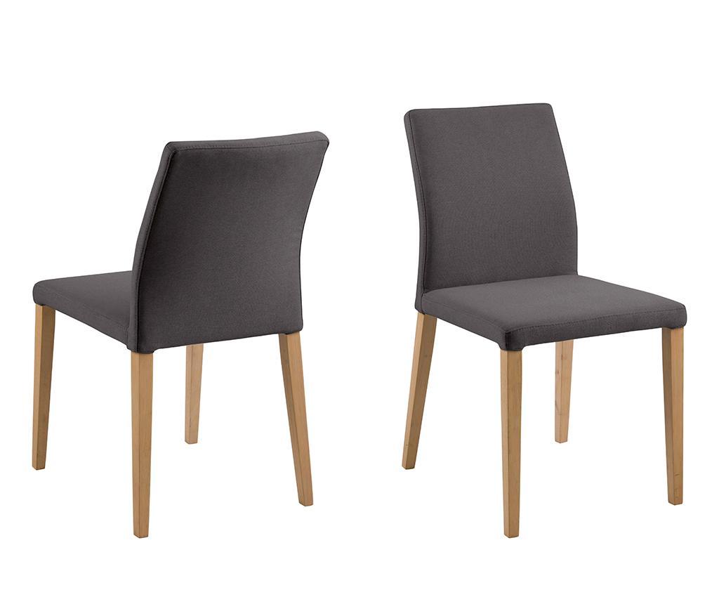 Set 2 scaune Zina Dark Grey - actona, Gri & Argintiu