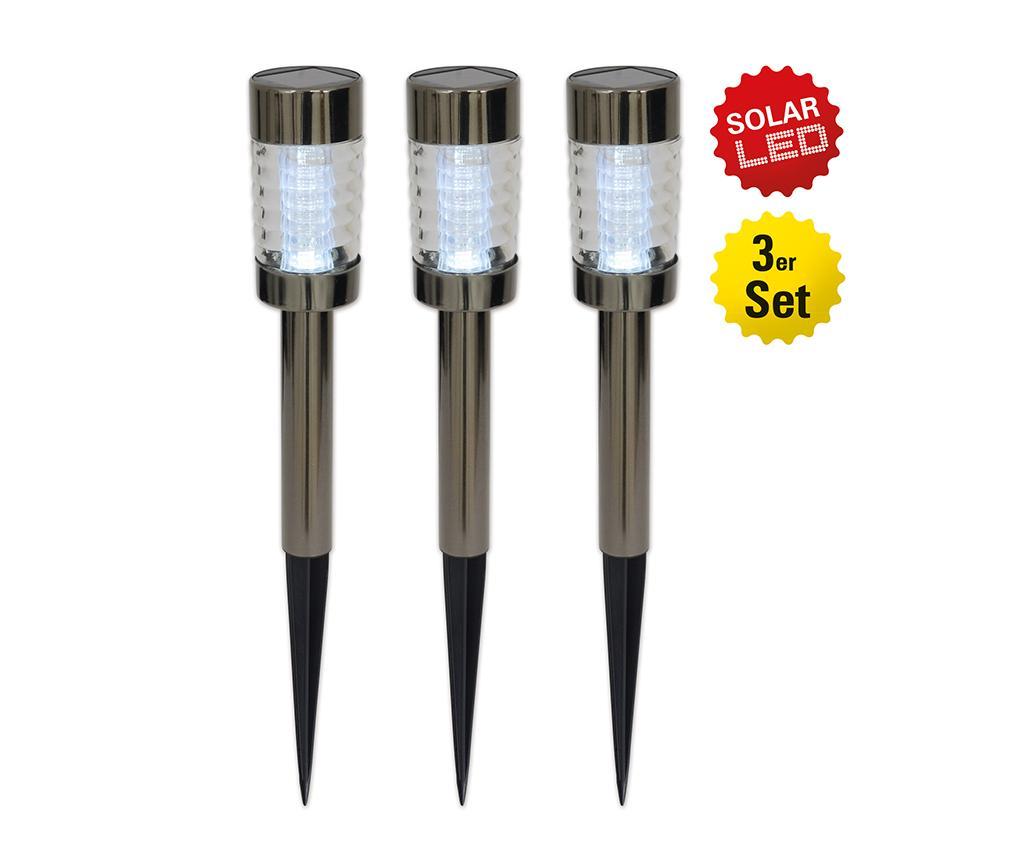 Set 3 lampi solare Jean - Näve, Gri & Argintiu