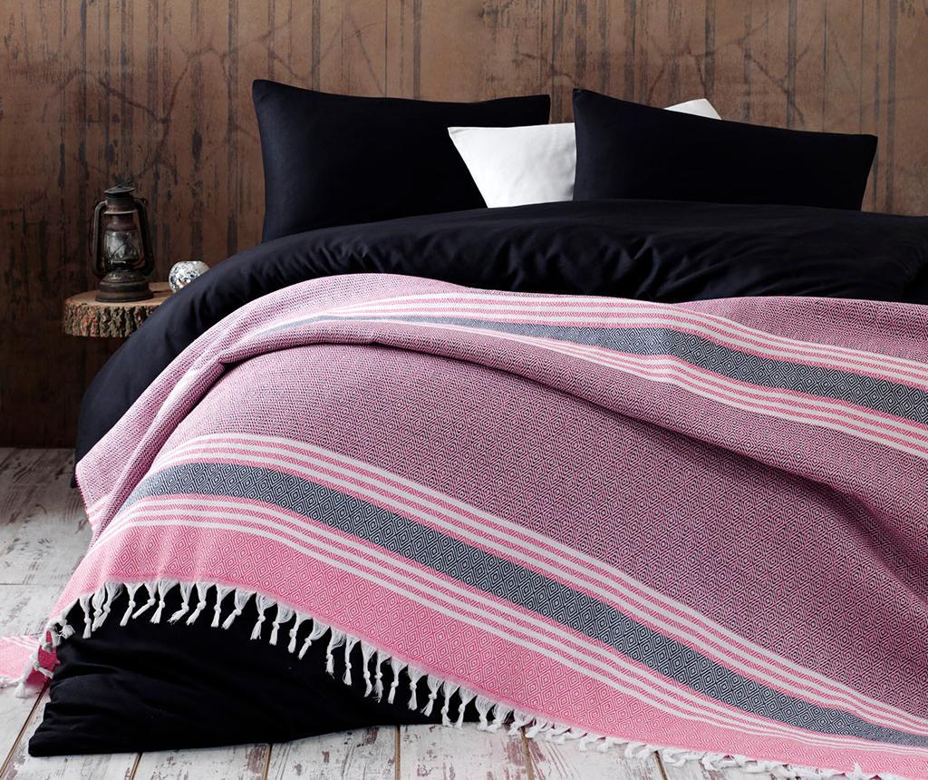 Cuvertura Pique Anna Yatak Pink & Black 220x240 cm - EnLora Home, Roz