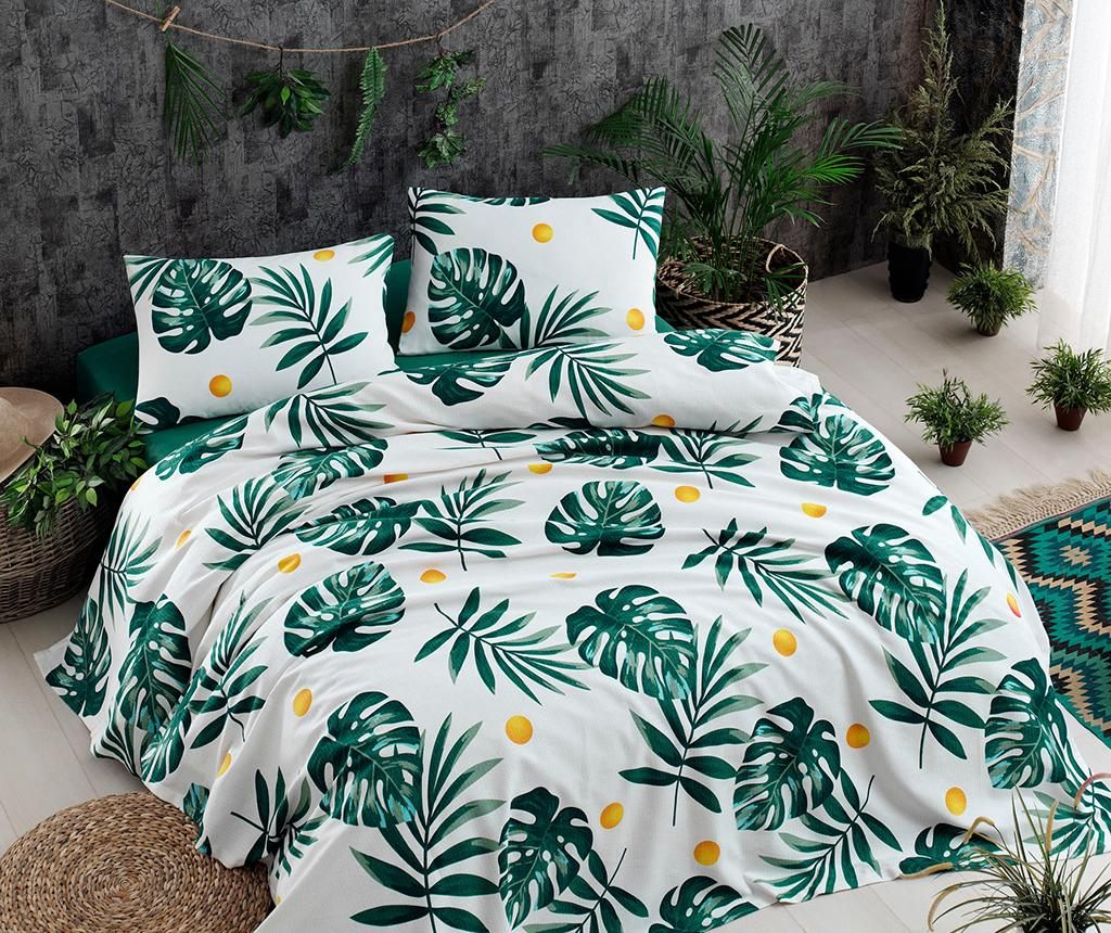 Cuvertura Pique Monstera Green 200x235 cm - EnLora Home, Verde