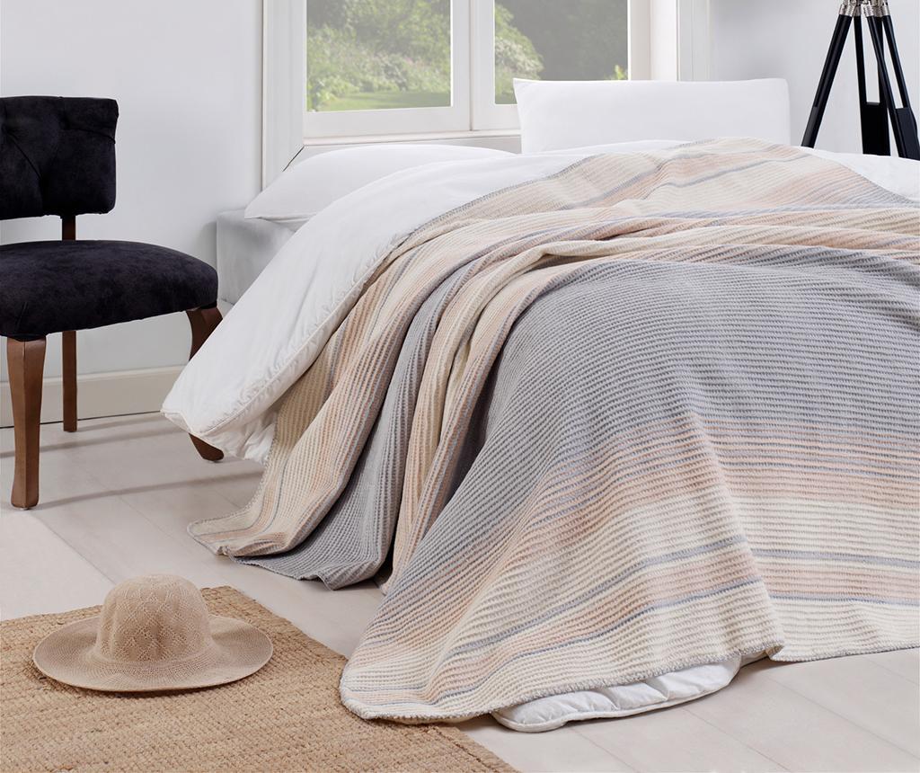 Patura Stripe Grey 180x220 cm - EnLora Home, Gri & Argintiu