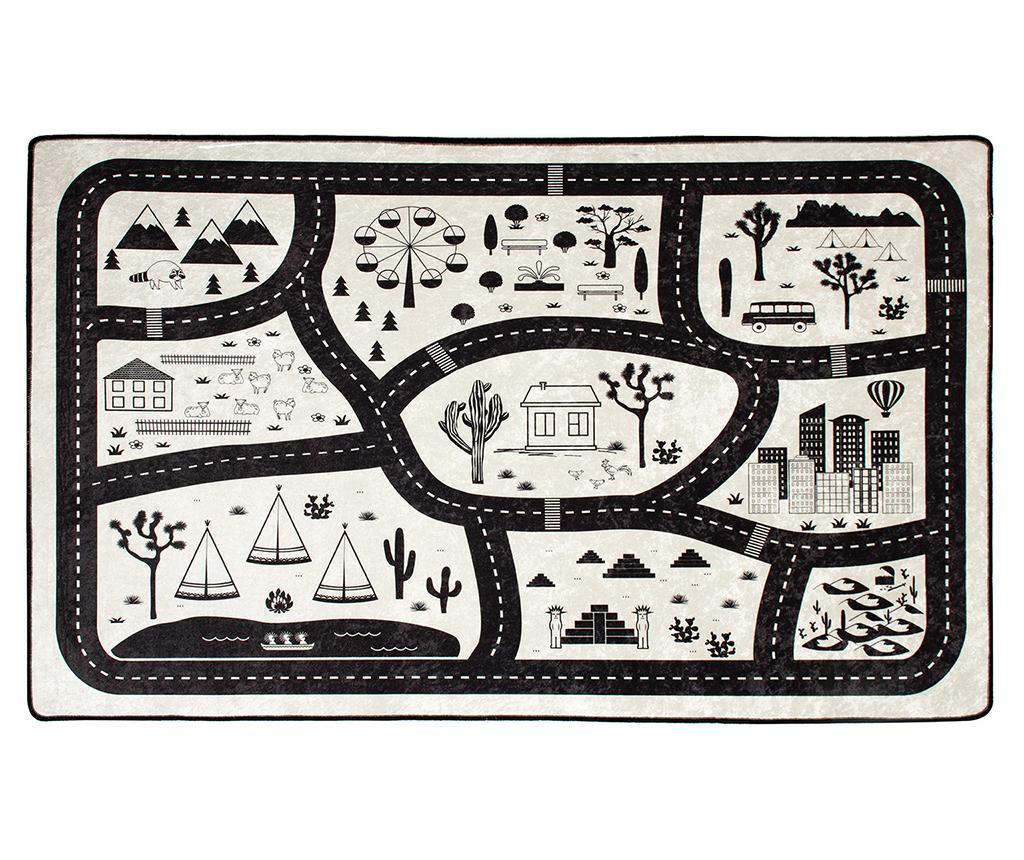 Covor de joaca Black City 100x160 cm - Chilai, Negru