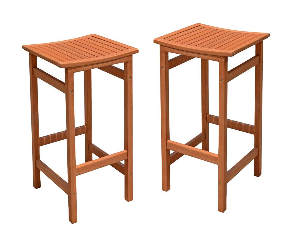 Set 2 scaune de bar pentru exterior Palmdale - Garden Pleasure, Maro