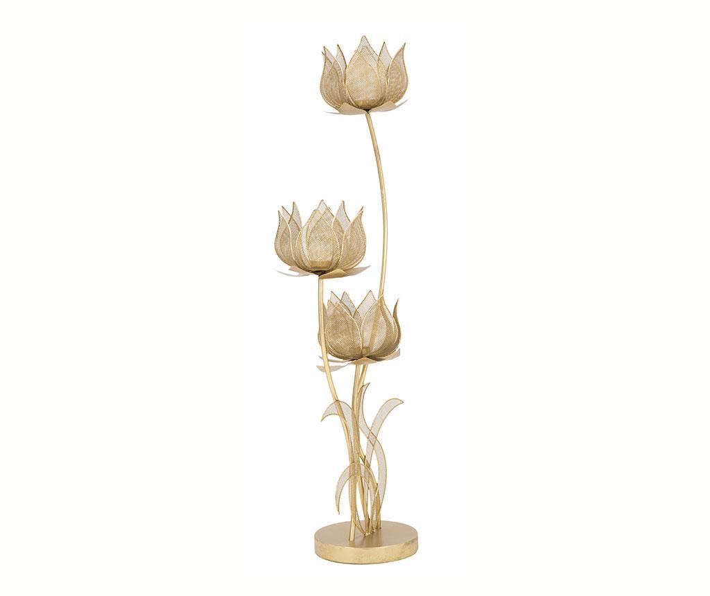 Suport Lumanari Flowery Galben Auriu
