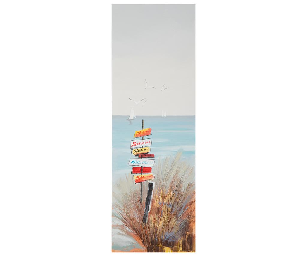 Tablou Beach Sign 30x90 Cm - Mauro Ferretti, Multicolor