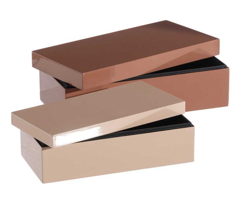 Sada 2 krabic s víkem Clear Shine Pink