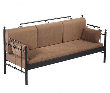 Canapea 3 locuri pentru exterior Hatkus Black and Brown