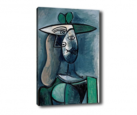 Tablou Woman with Green Hat 100x140 cm