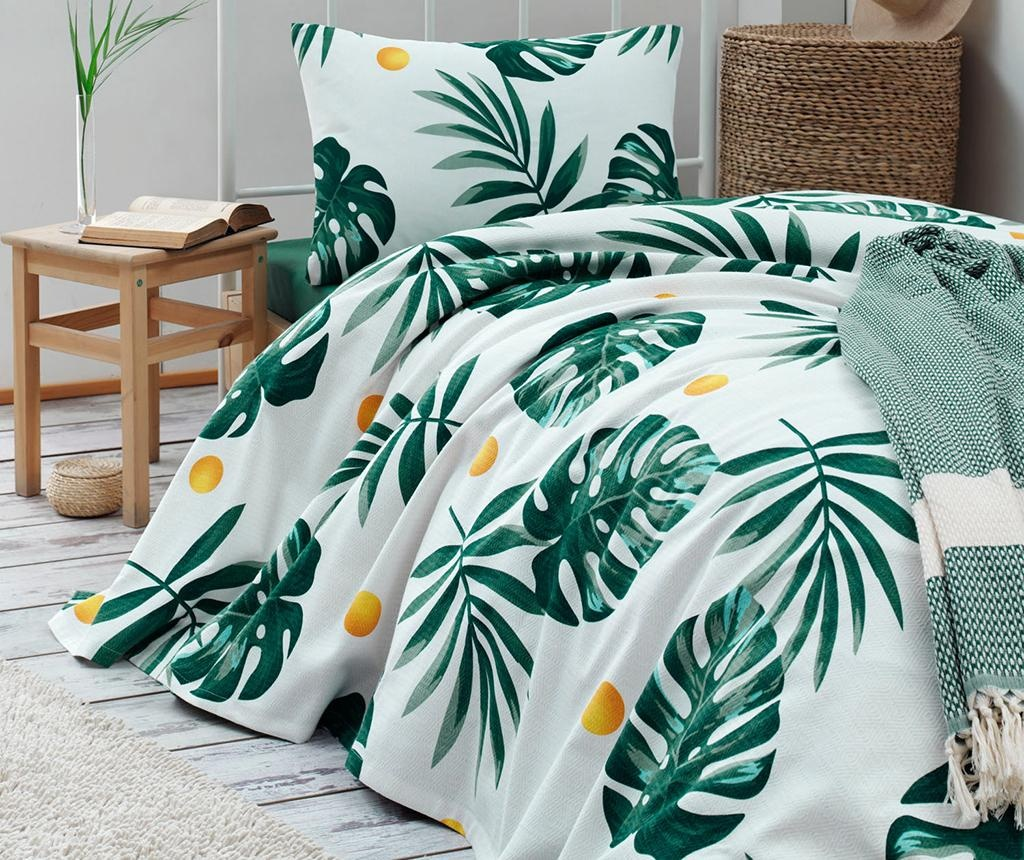 Posteljnina Single Pique Monstera Green
